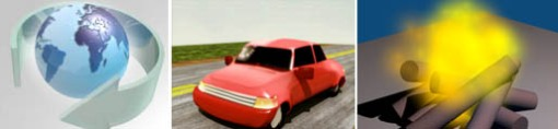 Animação de logotipo, Modelagem de um carro, Animação de partículas.